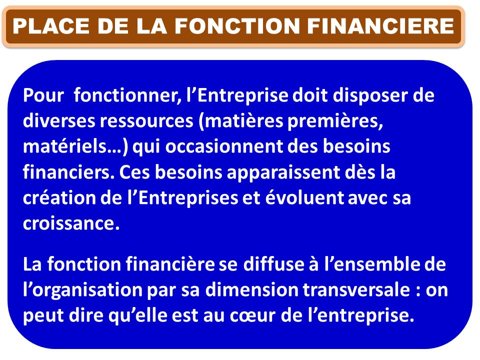 PLACE DE LA FONCTION FINANCIERE