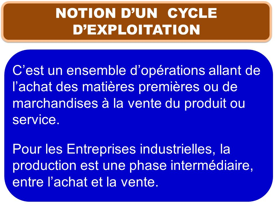 NOTION D'UN CYCLE D'EXPLOITATION