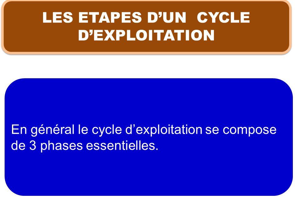 LES ETAPES D'UN CYCLE D'EXPLOITATION