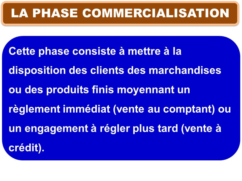 LA PHASE COMMERCIALISATION