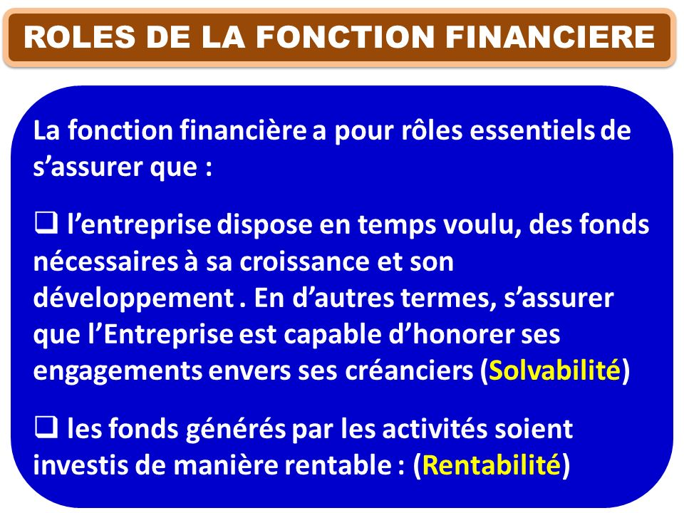 ROLES DE LA FONCTION FINANCIERE