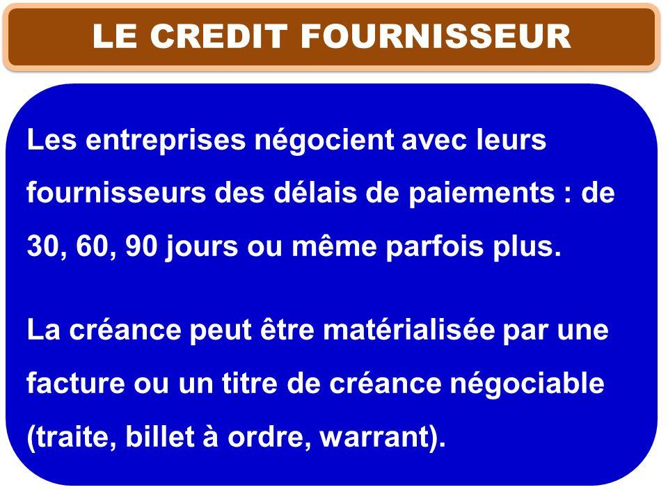 LE CREDIT FOURNISSEUR Les entreprises négocient avec leurs fournisseurs des délais de paiements : de 30, 60, 90 jours ou même parfois plus.