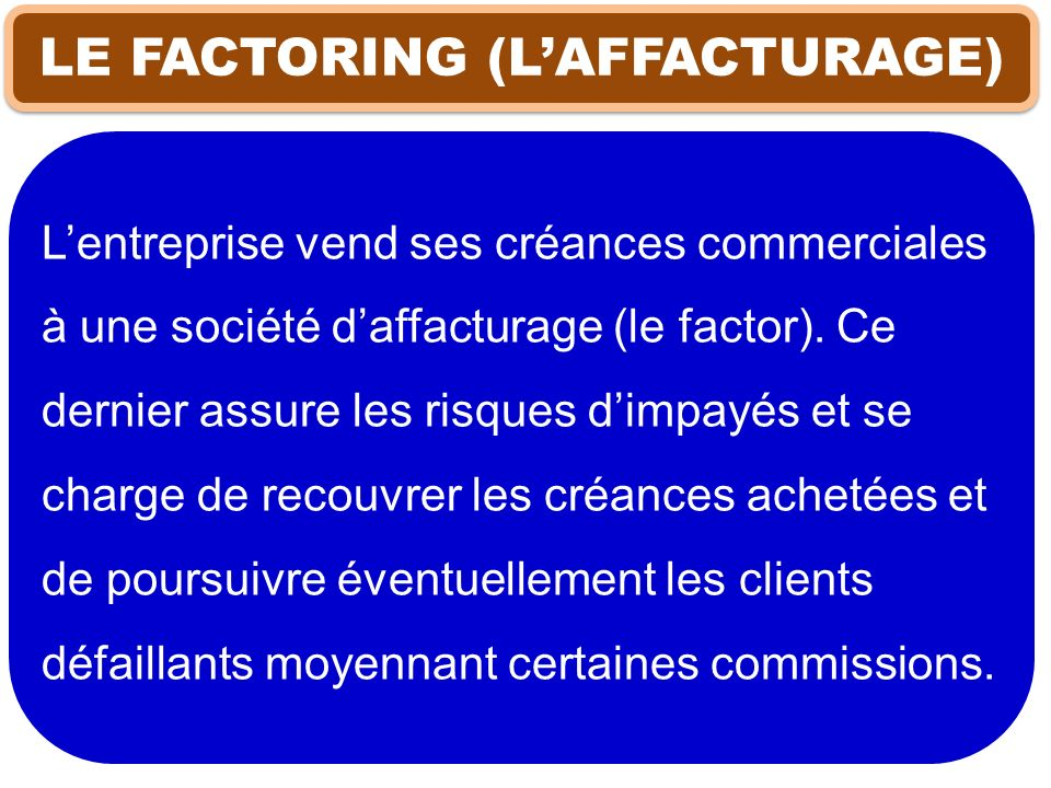LE FACTORING (L'AFFACTURAGE)