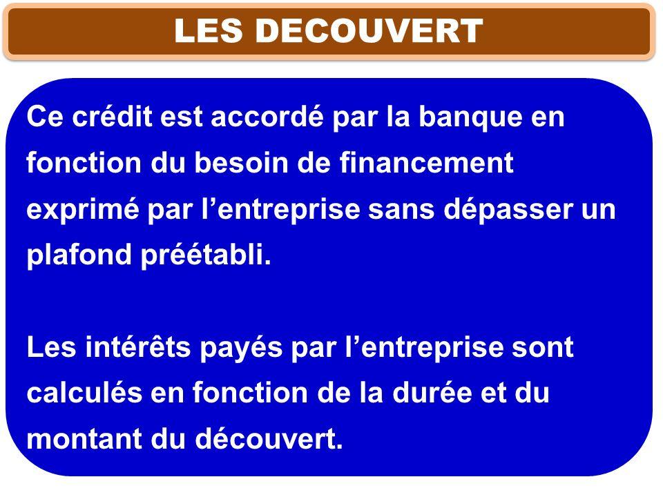 LES DECOUVERT Ce crédit est accordé par la banque en fonction du besoin de financement exprimé par l'entreprise sans dépasser un plafond préétabli.