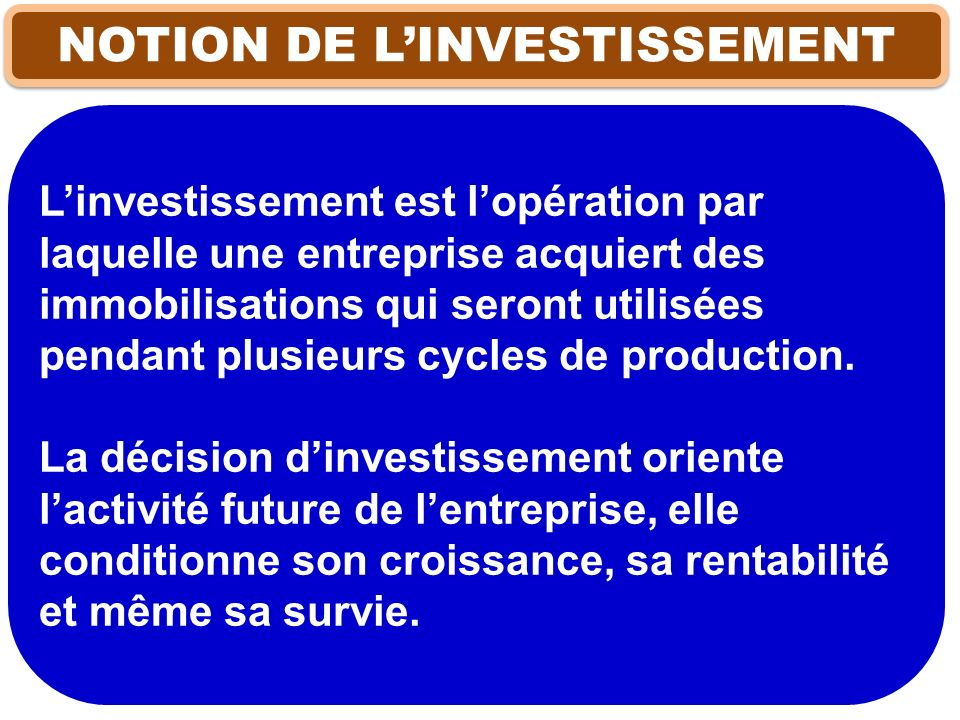 NOTION DE L'INVESTISSEMENT