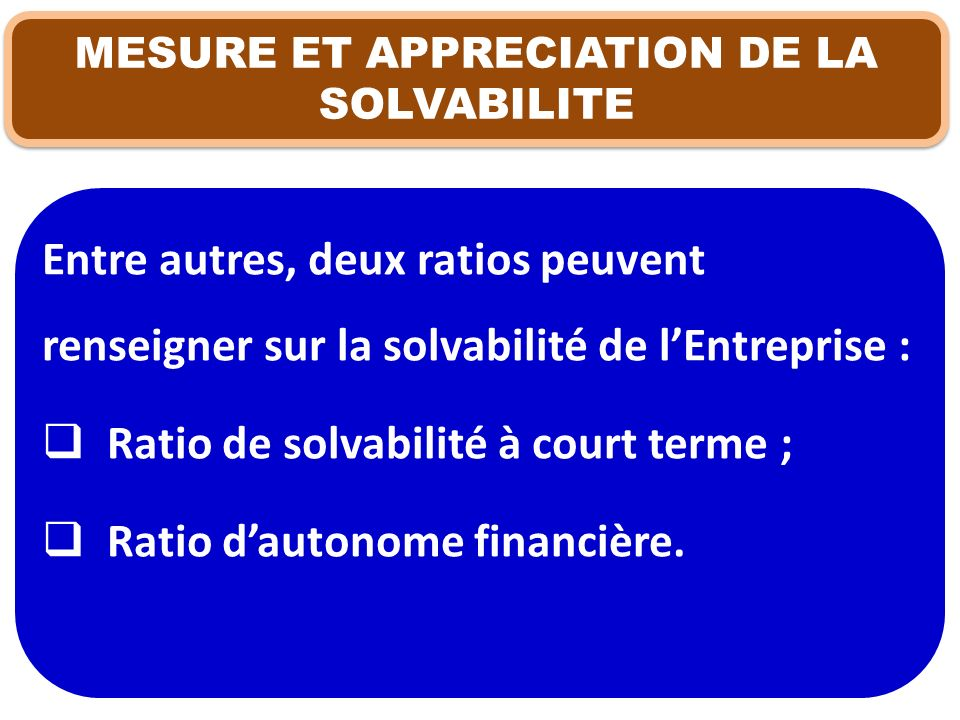 MESURE ET APPRECIATION DE LA SOLVABILITE