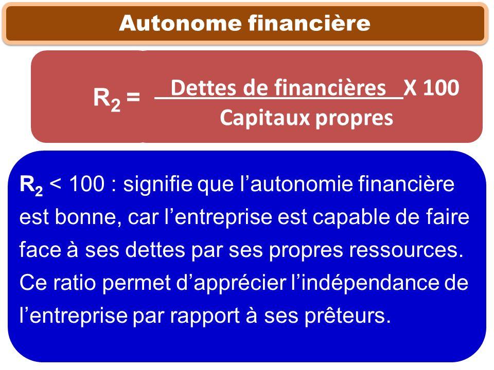 Dettes de financières X 100