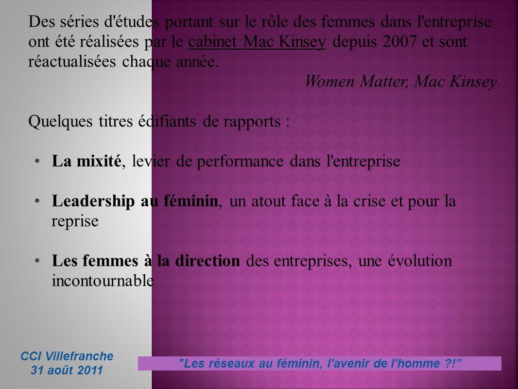 Les réseaux au féminin, l avenir de l homme !