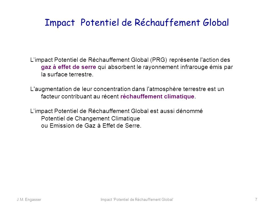 Impact Potentiel de Réchauffement Global