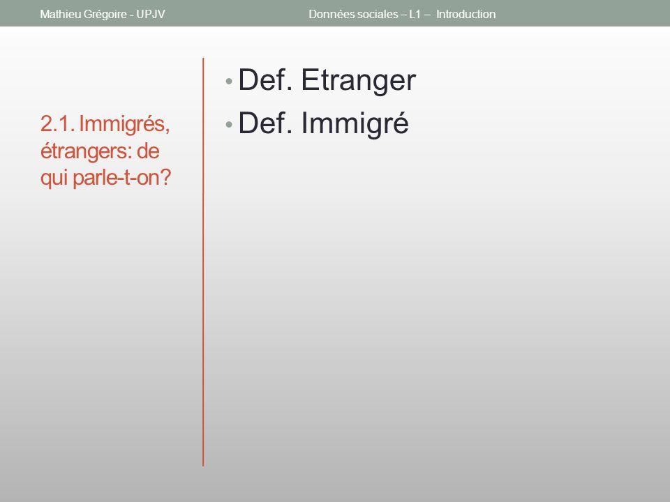 2.1. Immigrés, étrangers: de qui parle-t-on