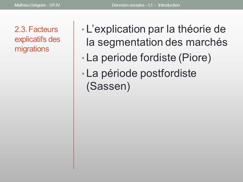 2.3. Facteurs explicatifs des migrations