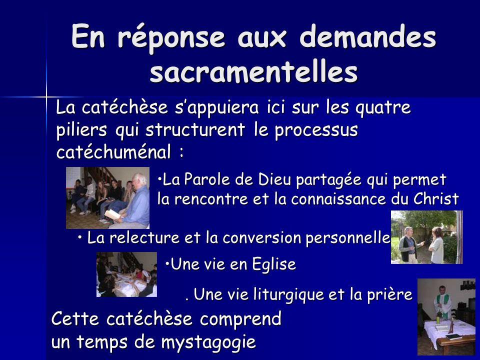 En réponse aux demandes sacramentelles