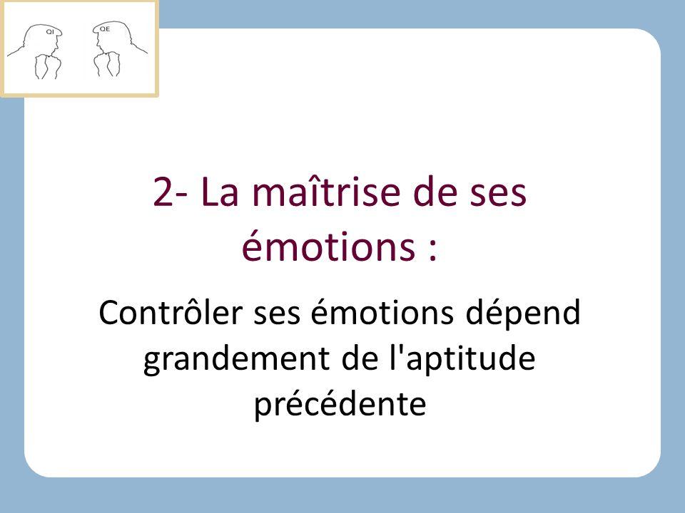 2- La maîtrise de ses émotions :