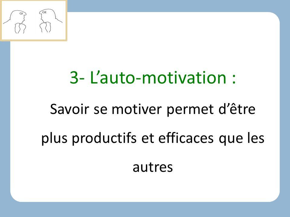 3- L'auto-motivation : Savoir se motiver permet d'être plus productifs et efficaces que les autres