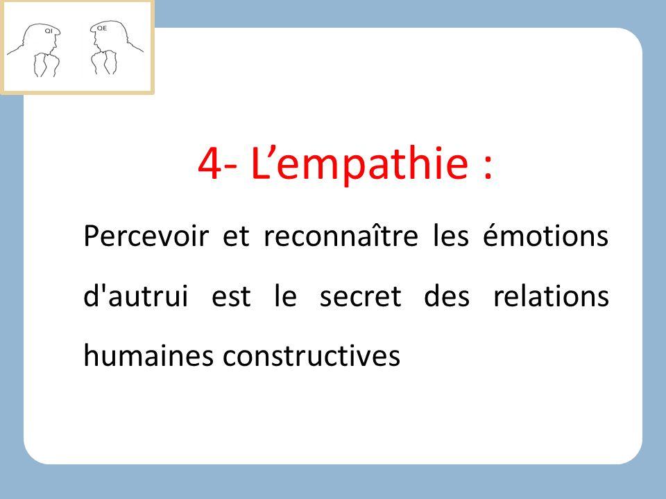 4- L'empathie : Percevoir et reconnaître les émotions d autrui est le secret des relations humaines constructives.