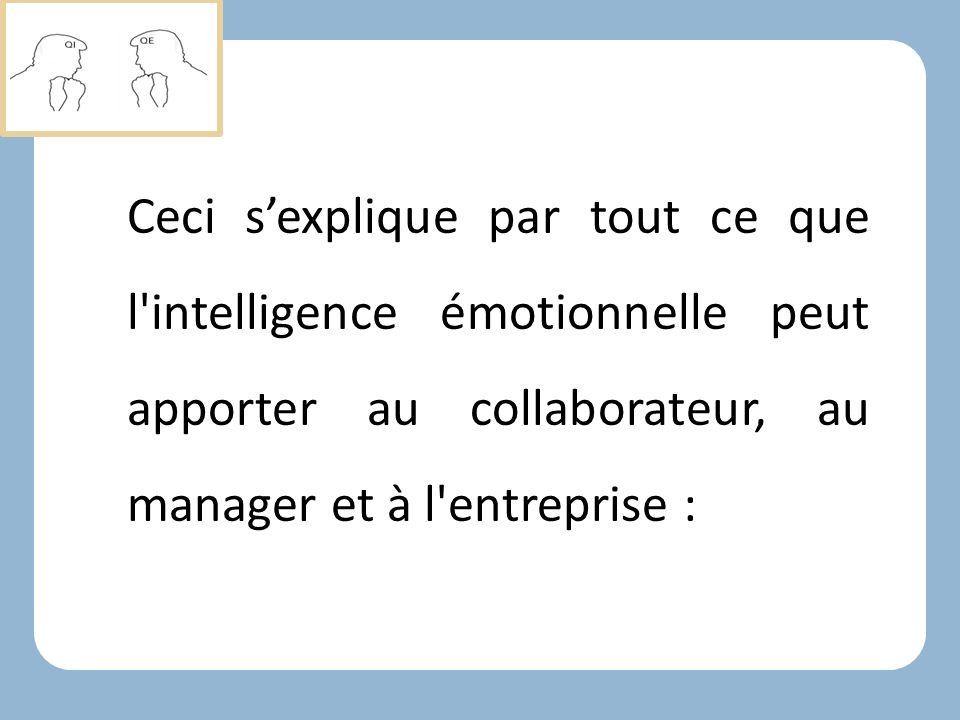 Ceci s'explique par tout ce que l intelligence émotionnelle peut apporter au collaborateur, au manager et à l entreprise :