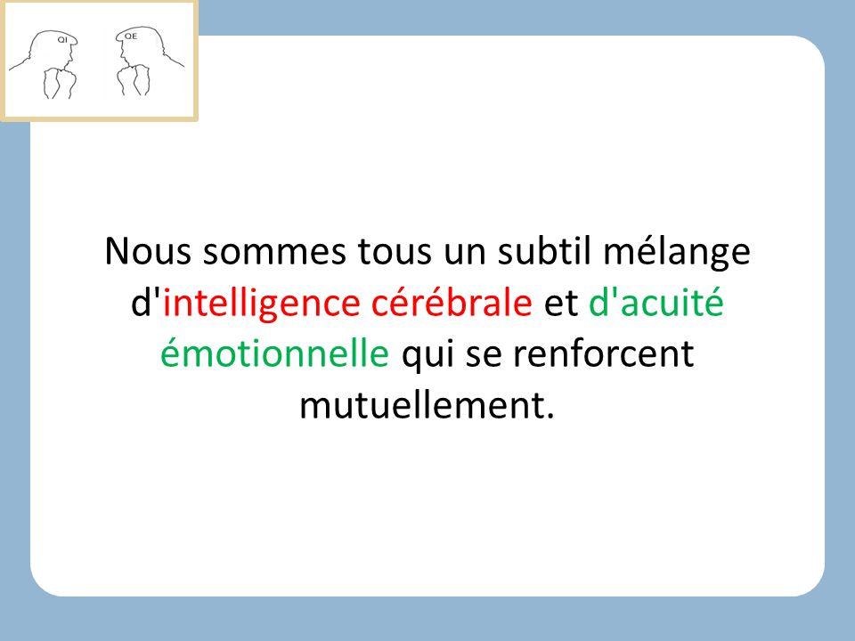 Nous sommes tous un subtil mélange d intelligence cérébrale et d acuité émotionnelle qui se renforcent mutuellement.