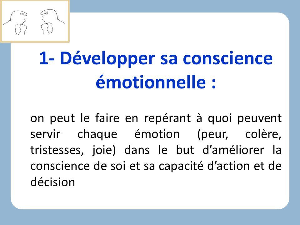 1- Développer sa conscience émotionnelle :