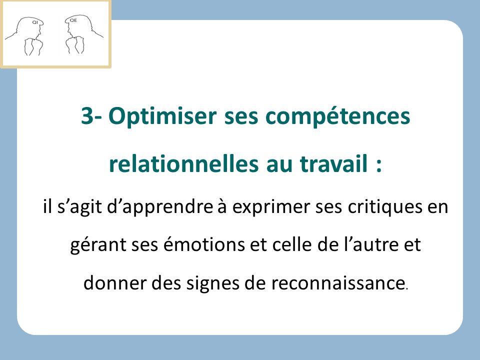 3- Optimiser ses compétences relationnelles au travail :