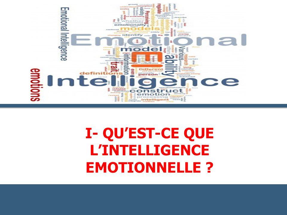 I- QU'Est-ce QUE L'intelligence emotioNnelle