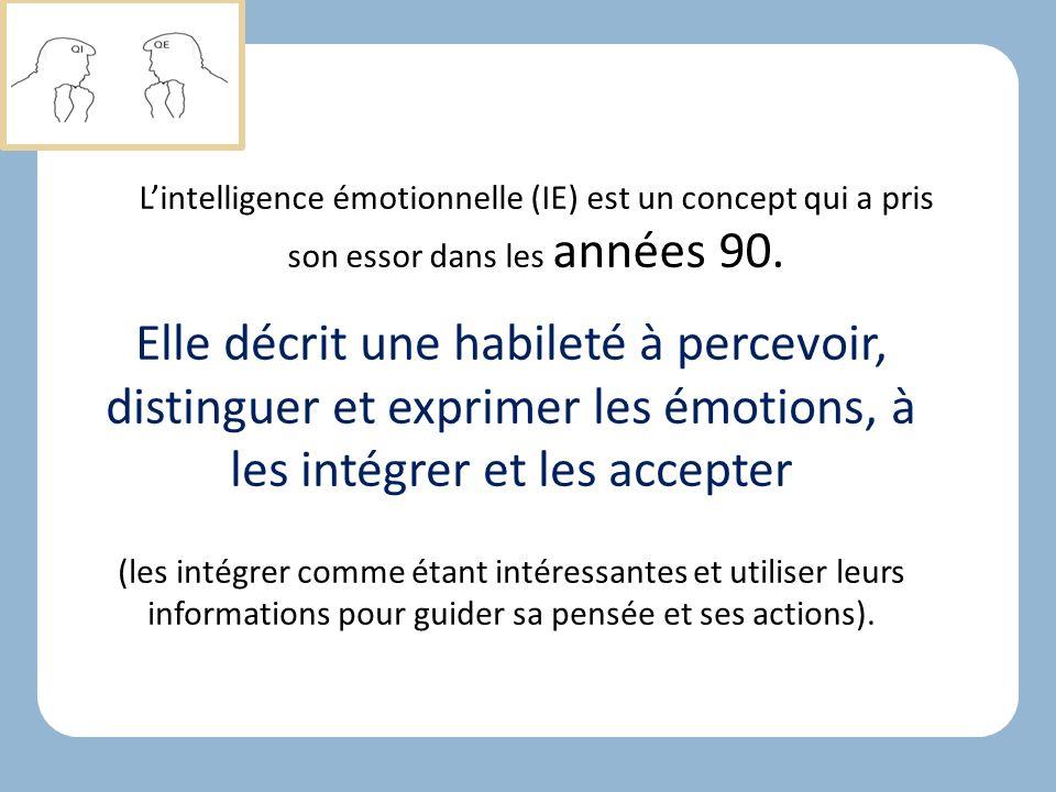 L'intelligence émotionnelle (IE) est un concept qui a pris son essor dans les années 90.