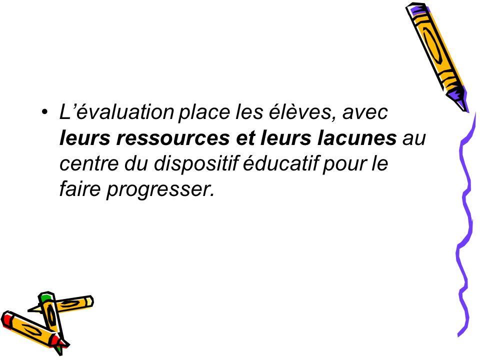 L'évaluation place les élèves, avec leurs ressources et leurs lacunes au centre du dispositif éducatif pour le faire progresser.