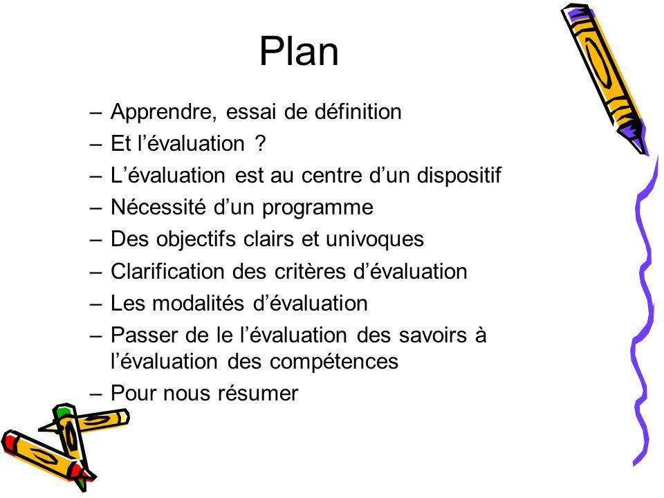 Plan Apprendre, essai de définition Et l'évaluation