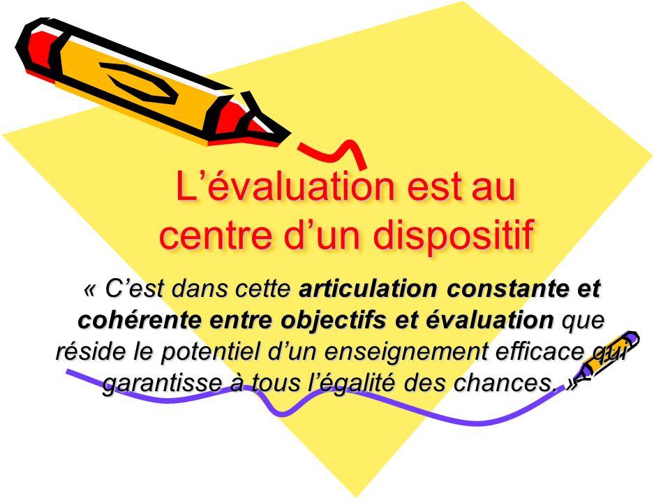 L'évaluation est au centre d'un dispositif