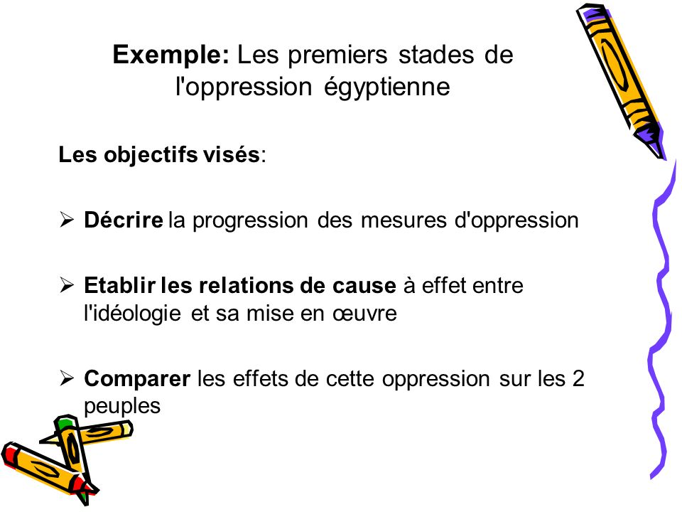 Exemple: Les premiers stades de l oppression égyptienne