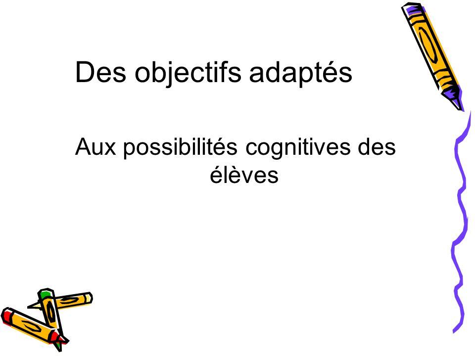 Aux possibilités cognitives des élèves