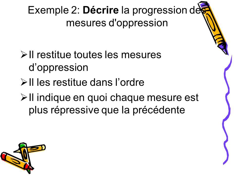Exemple 2: Décrire la progression des mesures d oppression