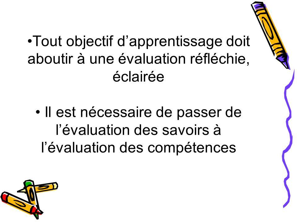 •Tout objectif d'apprentissage doit aboutir à une évaluation réfléchie, éclairée • Il est nécessaire de passer de l'évaluation des savoirs à l'évaluation des compétences