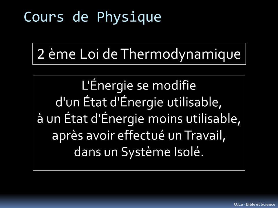 2 ème Loi de Thermodynamique