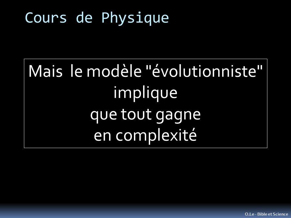 Mais le modèle évolutionniste