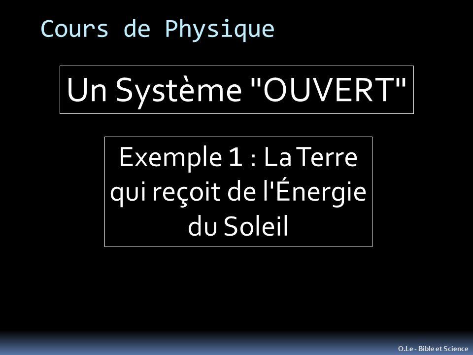 Un Système OUVERT Exemple 1 : La Terre qui reçoit de l Énergie