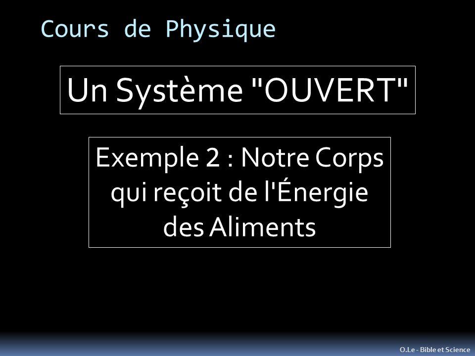 Un Système OUVERT Exemple 2 : Notre Corps qui reçoit de l Énergie
