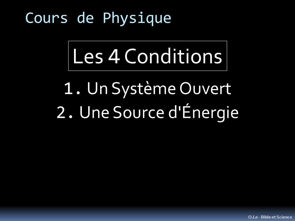 Les 4 Conditions 1. Un Système Ouvert 2. Une Source d Énergie