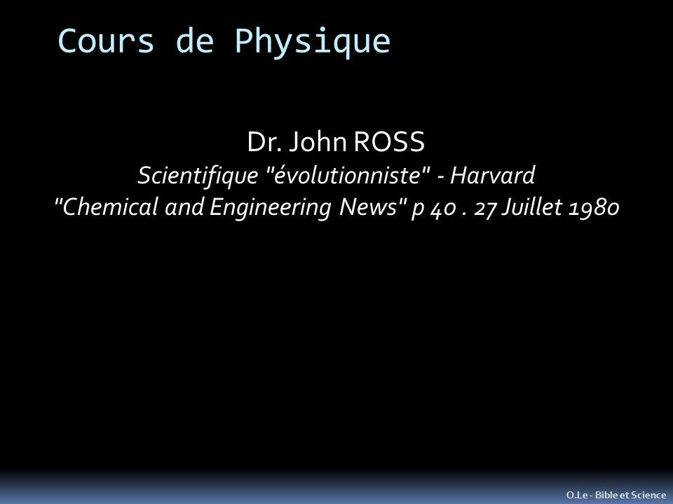 Cours de Physique Dr. John ROSS