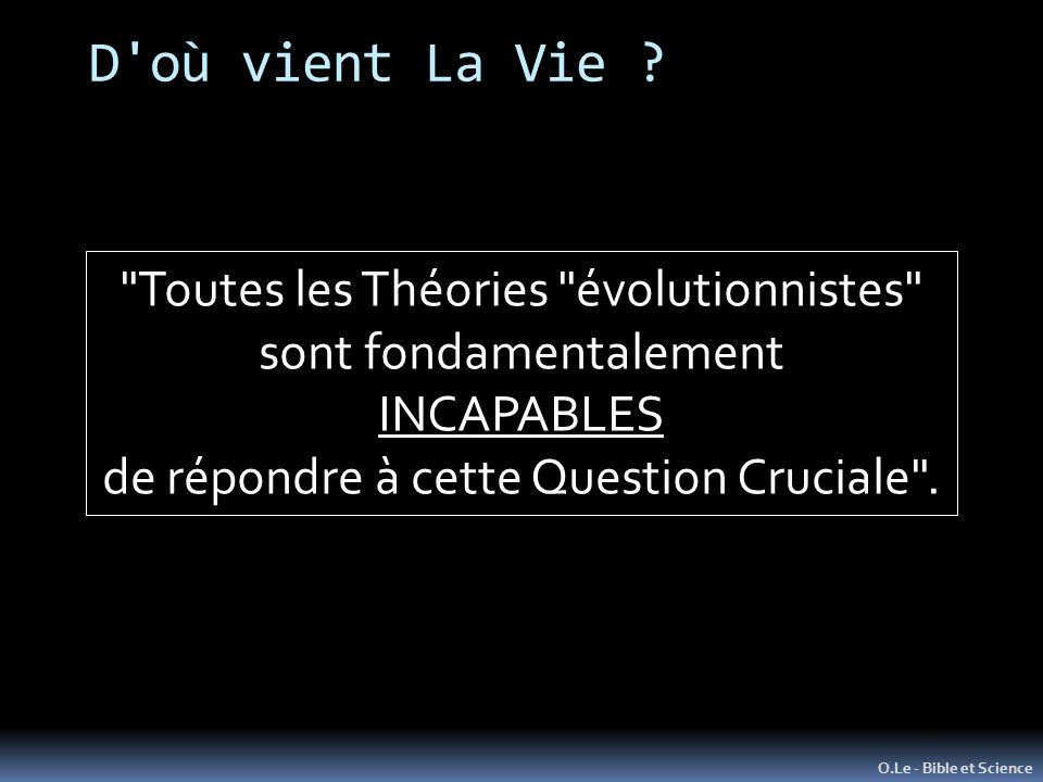 D où vient La Vie Toutes les Théories évolutionnistes