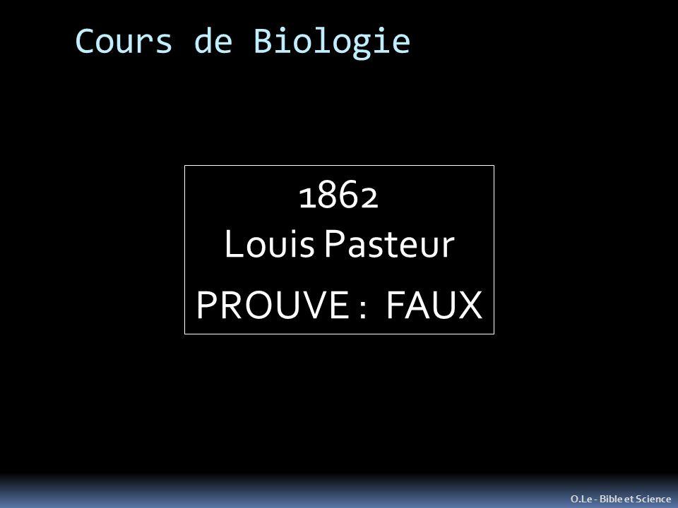 1862 Louis Pasteur PROUVE : FAUX Cours de Biologie