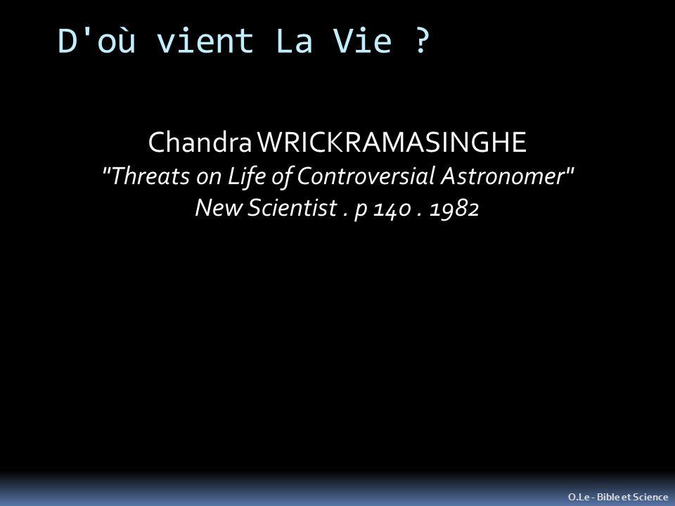 D où vient La Vie Chandra WRICKRAMASINGHE