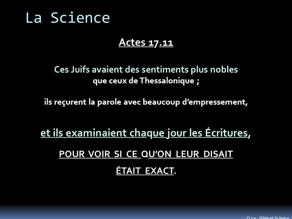 La Science Actes 17.11 et ils examinaient chaque jour les Écritures,