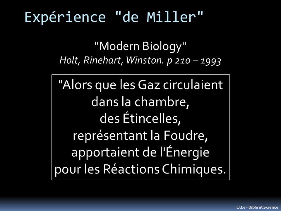 Expérience de Miller Alors que les Gaz circulaient dans la chambre,
