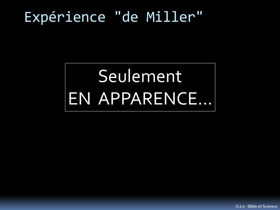 Expérience de Miller Seulement EN APPARENCE… O.Le - Bible et Science