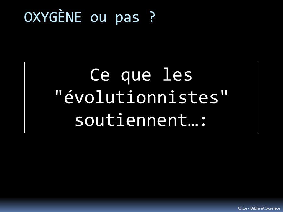 Ce que les évolutionnistes
