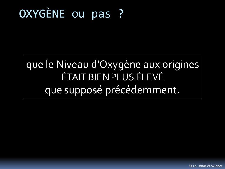 OXYGÈNE ou pas que le Niveau d Oxygène aux origines