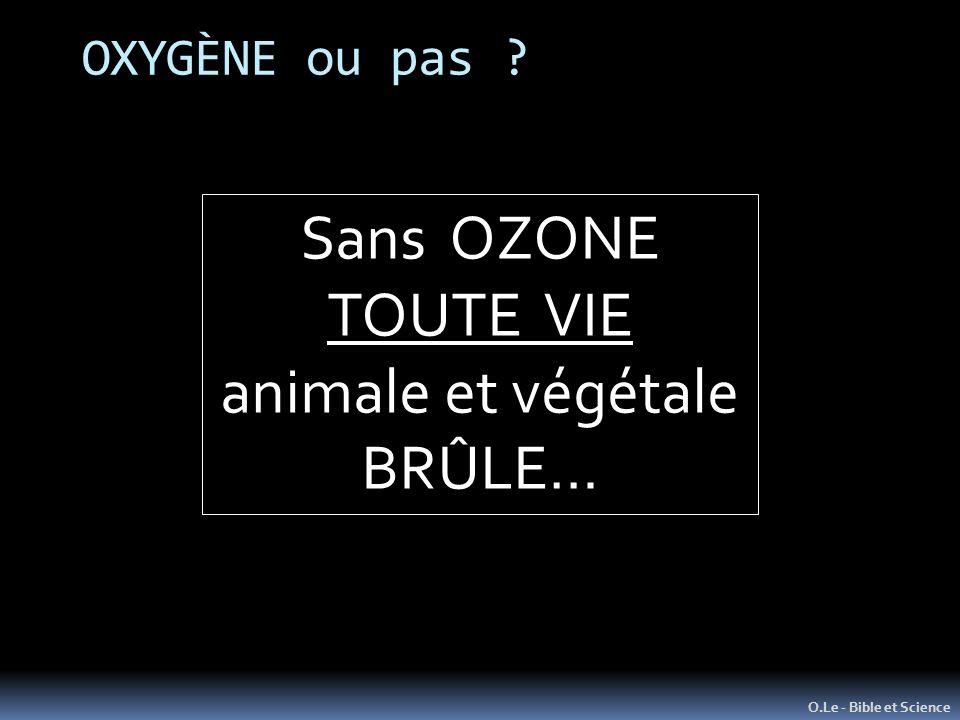 Sans OZONE TOUTE VIE animale et végétale BRÛLE… OXYGÈNE ou pas
