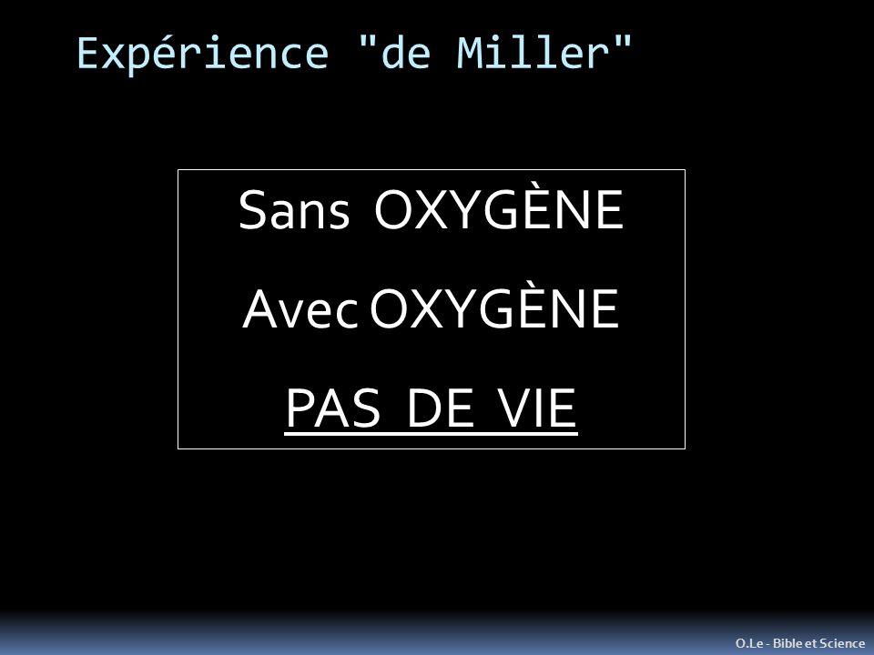 Sans OXYGÈNE Avec OXYGÈNE PAS DE VIE Expérience de Miller
