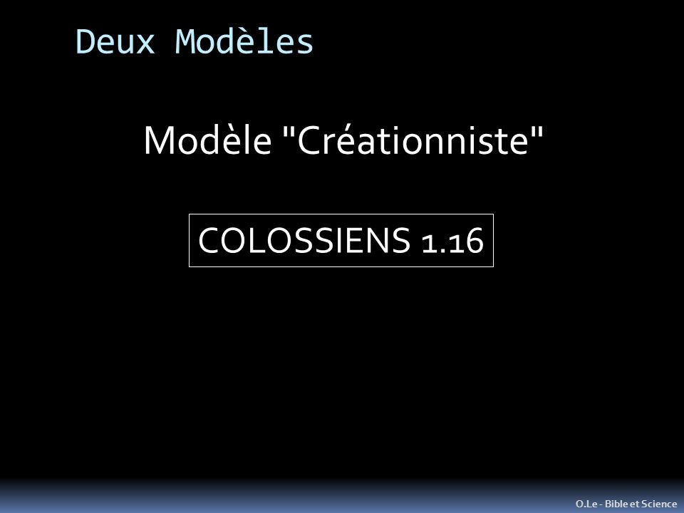 Modèle Créationniste Deux Modèles COLOSSIENS 1.16
