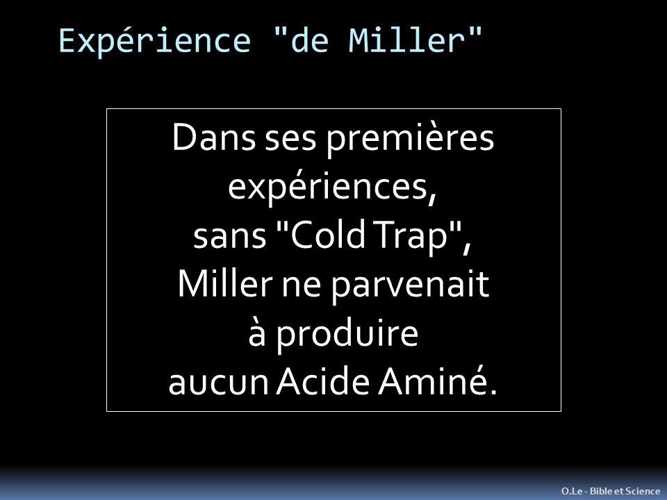 Dans ses premières expériences, sans Cold Trap , Miller ne parvenait